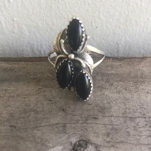 Vtg Navajo Native American Onyx Sterling Ring